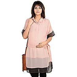 9teenagain Solid Maternity Tunic With Lace Detailings