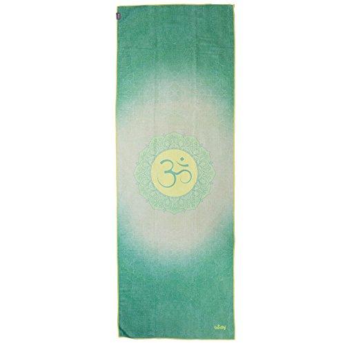 Bodhi Grip² Yoga Towel Art Collection All is Om, Rutschfest, Yogatuch grün-gelb mit Noppen,...