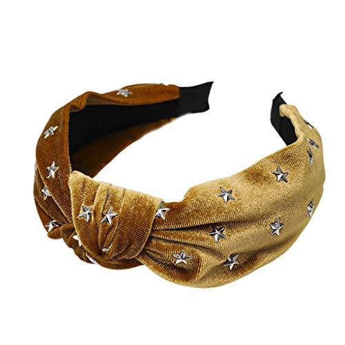 Kafen Minimalist Glitter Velvet Volltonfarbe Stirnband - Twist Knot Center Wide Haarband Frauen Five-Pointed Star Hot Drilling - Kostüm Für Drillinge
