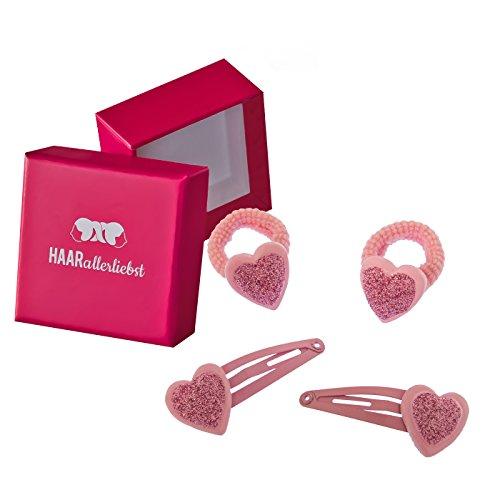 HAARallerliebst Haarschmuck Set (6 Stück | glitzernde Herzen | rosa) für Mädchen inkl. Schachtel...