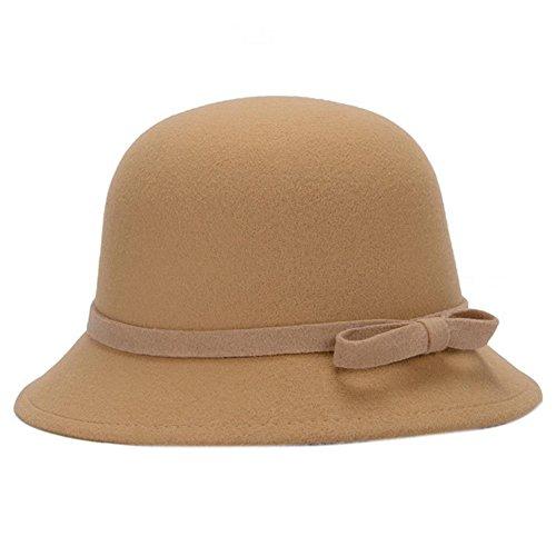 Dosige Mujer Sombrero Hongo Gorra Bombín con Visera Curvada Bowler Hat Sombrero Boina para Cálido Gorro Tapones Hat Cap Chicas (Caqui)