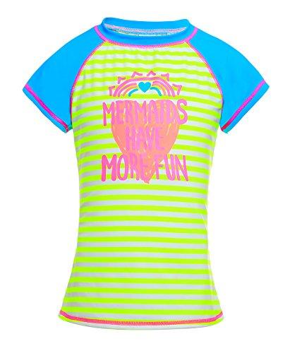 iDrawl Kinder Sommer Shirt Kurz UV Schutz Strandwear Top Wassersport Gelb Rash Guard, 5-6 Jahre