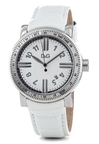 Dolce & Gabbana Women's Quartz Watch with White Analogue Display and White Leather Strap DW0680