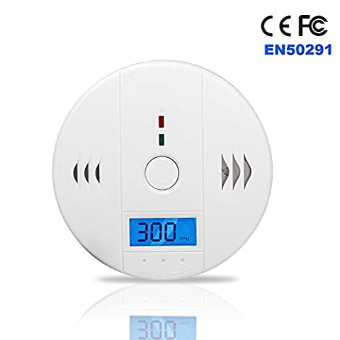 TOP-MAX® White CO Alarm Carbon Monoxide Warning Gas Sensor Detector Monitor With LCD Digital Display
