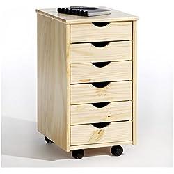 IDIMEX Caisson de Bureau Lagos Meuble de Rangement à roulettes avec 6 tiroirs, en pin Massif Vernis Naturel