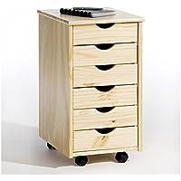 IDIMEX Rollcontainer Bürocontainer Container Schubladencontainer LAGOS, Kiefer massiv in natur, 6 Schubladen, 4 Doppelrollen