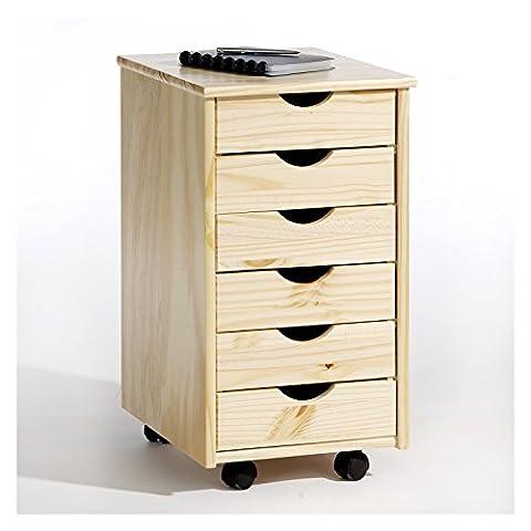 Caisson de bureau / de rangement 6 tiroirs sur roulettes