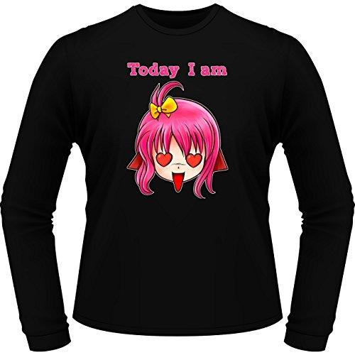 Okiwoki T-Shirt à Manches Longues Noir Humeur du Jour parodique Manga Style : Today I am in Love !! (Parodie Humeur du Jour)