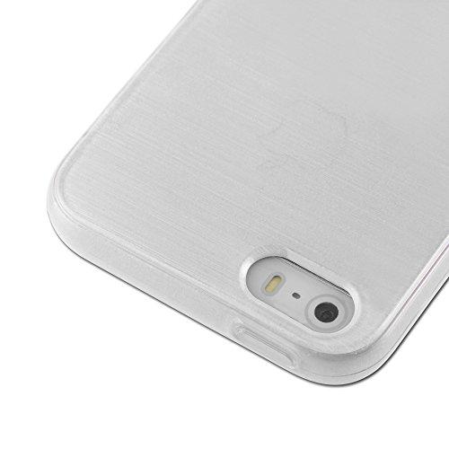 Cadorabo - Etui Housse Gel (silicone) pour Apple iPhone 5 / 5S Design: METAL BROSSÉ (brushed cover) - Etui Coque Case Cover Bumper en NOIR DE JAIS ARGENT