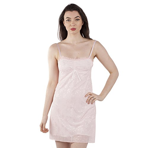 Ladies Pretty Chemise Slip-on Nightdress in Pastel Coloured Floral Embroidered Lace Tulle Style 03
