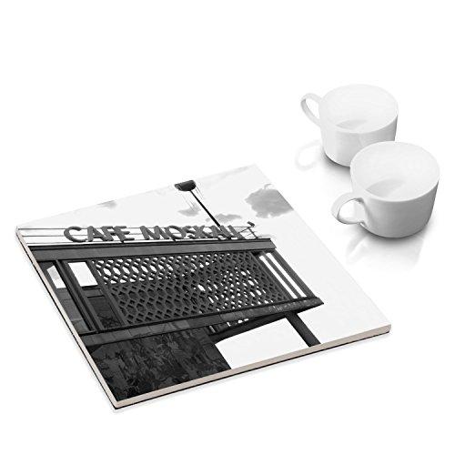 COGNOSCO - Keramik-Untersetzer mit Filzuntersatz für Esstisch und Küche - 15 x 15 cm - mit Fotokunst-Motiv: Café Moskau, Berlin