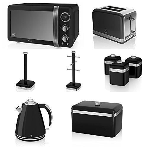 Swan Black Kitchen Appliance Retro Set Of 9 - Black Retro Digital Microwave, 20 Litre, 800 Watt, 1.5 Litre Jug Kettle & Retro Stylish 2 Slice Toaster Retro Bread Bin, 3 Canisters, Towel Pole And 6 Mug Tree Set