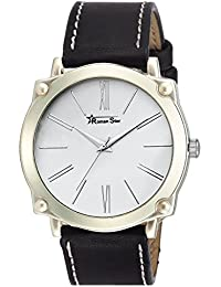 Roman Star Men's N-1130 Silver Coloured With Black Leather Strap Analog Quartz Watch