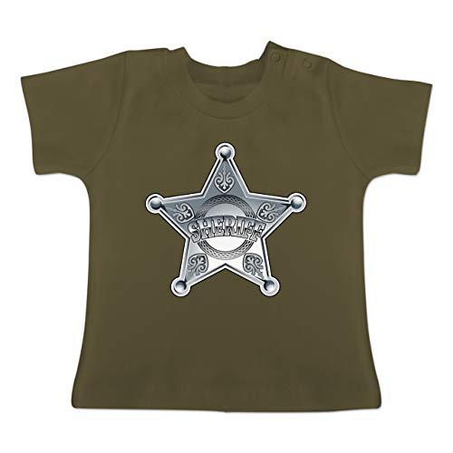 Karneval und Fasching Baby - Cowboy Sheriff Karneval Kostüm - 1-3 Monate - Olivgrün - BZ02 - Baby T-Shirt Kurzarm