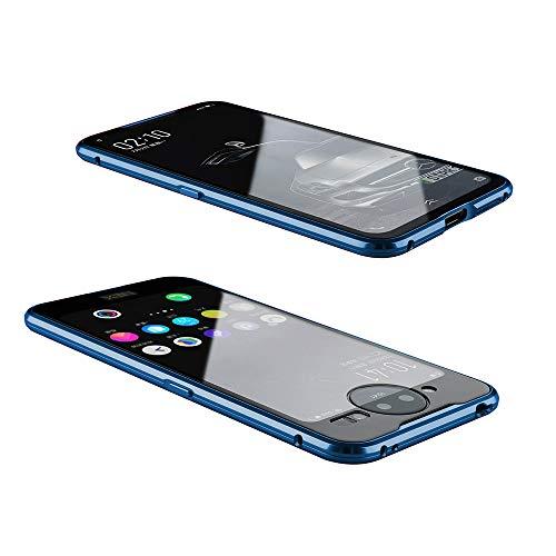 Orgstyle für Vivo NEX 2 Hülle Magnetisches Adsorption Hartglas Handyhülle mit Vorderseite & Rückseite, Metallrahmen Transparent Case mit eingebaut Magnet, Ultra Dünn 360 Grad Schutzhülle, Blau