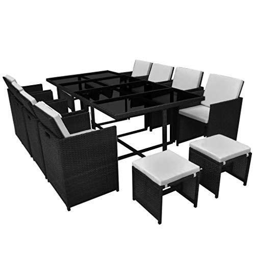 mewmewcat 33-TLG. Garten Essgruppe Poly Rattan Gartenmöbel Set Tischset Sitzgruppe Gartentisch und Stühle Tisch und Stuhl Set Gartensofa Set