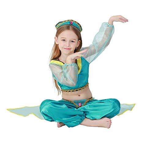 PIAOL Halloween Green Arab Girl Kostüm Bauchtanz Kleid Kostüm Tanz Indian Dance Wear,Blue-L (Blue Dance Kostüm Kleid)