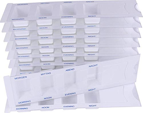 10 Medikamentendispenser für 1 Tag m. 4 Fächer, Pillenbox, Tablettenbox, Medikamentenbox preisvergleich