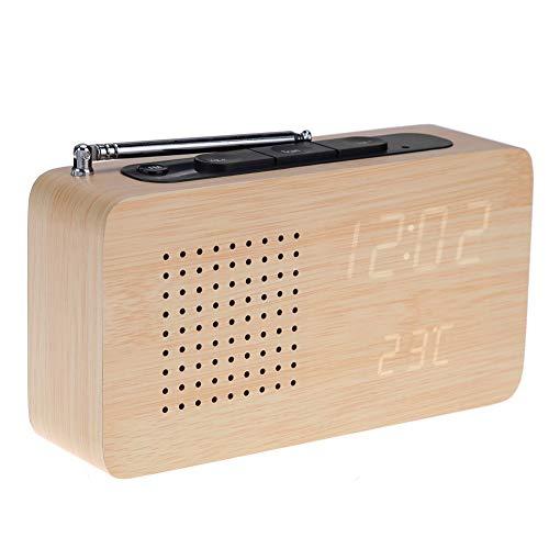 NBWS FM Radiowecker, LED Digitaler Wecker mit Drei Gruppen von Alarmen,Holzmaserung elektronische Uhr mit Zeit/Temperatur/ Datum/Sound-Kontrollfunktion,12/24-Stunden - Protokollfarbe