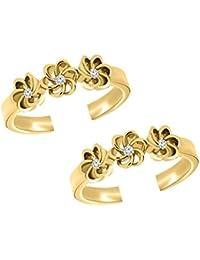 Araska Diamond 0.06 Ct Round Cut CZ Flower Style Women's Adjustable Toe Ring 14K White Gold Fn