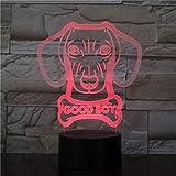 Cane bassotto salsiccia incandescente 3D ha condotto la lampada forma moderna lampada da tavolo animale da compagnia cucciolo