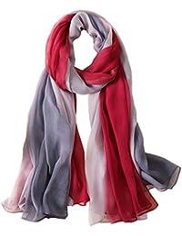 JUNGEN Bufandas de Mujeres de Grande Pañuelo de Seda de Imitacion Mantón de  Gasa de Moda con Gradiente de Color… 8d53e158de6