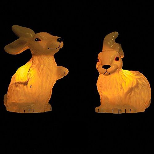 1 Paar ( = 2 Stück) Bezaubernde BELEUCHTETE Figuren / Tiere - OUTDOOR geeignet - wundervolle Dekoration / Gartenlicht / Gartenleuchte mit Erdspieß - mit Trafo - Größe ca. 20-25 breit x 40 cm hoch - ein wundervoller BLICKFANG nicht nur zu FRÜHLING OSTERN - zur Auswahl stehen beleuchtetes HASENPAAR oder beleuchtetes GÄNSEPAAR - Neu aus dem KAMACA-SHOP (1 Paar ( = 2 Stück) beleuchtete Hasen)