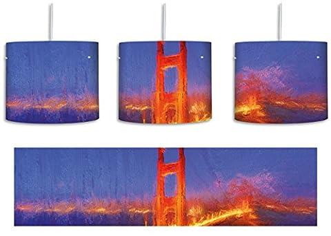 majestätische Golden Gate Bridge inkl. Lampenfassung E27, Lampe mit Motivdruck, tolle Deckenlampe, Hängelampe, Pendelleuchte - Durchmesser 30cm - Dekoration mit Licht ideal für Wohnzimmer, Kinderzimmer, Schlafzimmer