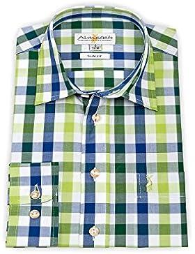 Almsach Trachten Herren Trachtenhemd langarm grün-blau slimfit 112400