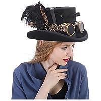 YQXR Moda Sombreros Conjunto de disfraces festivo Sombrero negro para  hombre con gafas Steampunk Sombrero de ad52cafcd37