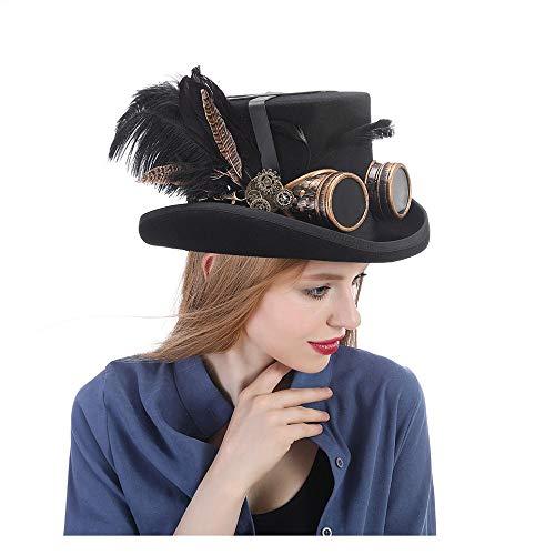 MXL Frauen schwarz heißen Hut mit Brille Steampunk Zylinder viktorianischen Hochzeit Tophat Brennen Cosplay Nussknacker Festival Hut (Farbe : Schwarz, Größe : 61 ()