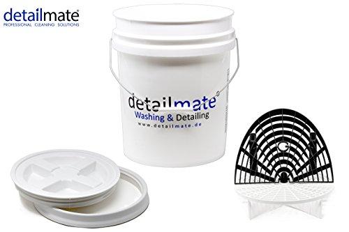 detailmate Profi Set Auto Reinigung GritGuard: Wasch Eimer 5 Gal (ca. 20 Liter) / Gamma Seal Eimerdeckel weiß/Einsatz weiß/Washboard