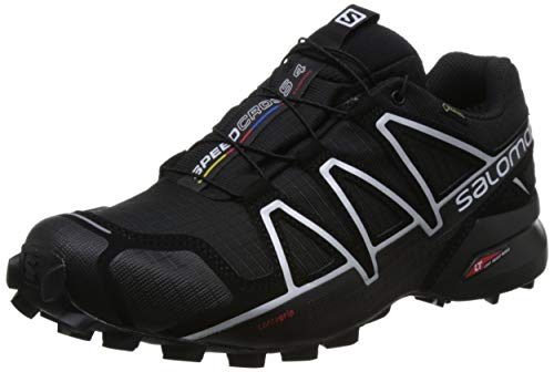 Salomon Men's Speedcross 4 GTX Trail Running Shoes, Black (Black/Black/Silver Metallic -X), 9 UK (43 1/3 EU)