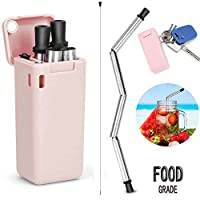 Haundry Collapsible Reusable BPA Free Stainless Steel Silicone Foldable Drinking Straw-Pink