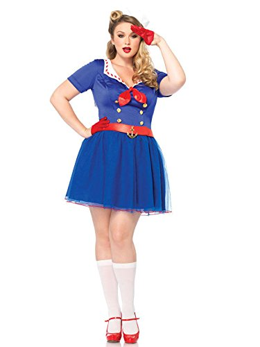 Kostüm Übergröße Sailor Girl - Sexy Matrosin Damenkostüm Sailor Girl Übergrößen blau rot weiss XXXL