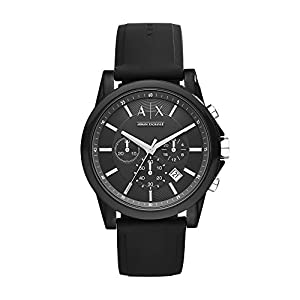 A|X Armani Exchange – Reloj de Pulsera para Hombre (Correa de Silicona), Color Negro y Plateado
