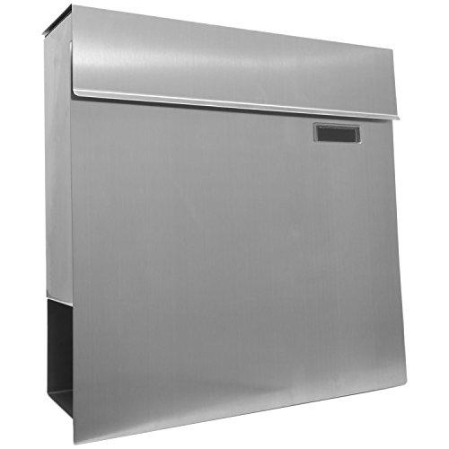 STILISTA Hochwertiger V2A Edelstahl Wandbriefkasten mit Zeitungsfach, verschiedene Designs, Schwere Qualität (3-4 kg) – 40100040 - 4