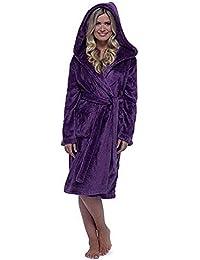 VJGOAL Mujeres Invierno Casual cálido Felpa con Capucha Bata Alargada con Cordones de mantón Albornoz Ropa para el hogar Abrigo de…