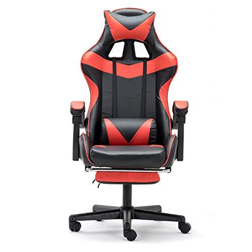 Soontrans Gaming Stuhl 150 kg belastbarkeit, Chefsessel mit Fußstütze, Höhen- und Rückenlehne Verstellbar, Ergonomischer Computerstuhl Bürostuhl Drehstuhl, mit Kopf- und Lendenwirbelpolster (Rot)