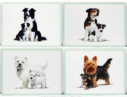 Set of 4 Four Place Mats Wipe Clean Cork Backed - Dogs