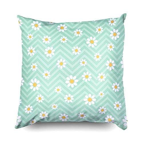 EUEI Sleepyhead Pillow Cover, Zippered Pillowcases 18x18 Pillow Cover Throw Pillow Covers Seamless Pattern with Daisies Vector Floral Pattern for Home Sofa -