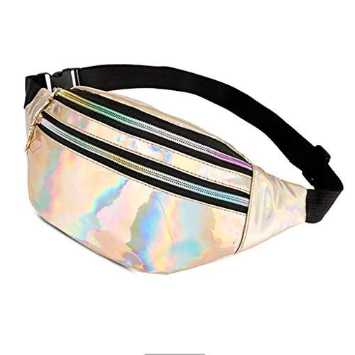 Fysless Frauen Hologramm Laufen Taille Gürteltasche, Pack Handytasche Reisetasche Wandern Gürtel Brust Schulter Zip Bag Satchel Tote Bags -