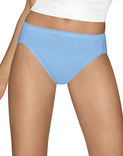Hanes Ultimate Comfort Cotton Hi-Cut Panties 5-Pack, Blue + White, 10 (White Panty Hanes)