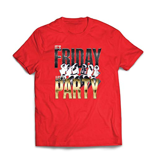 lepni.me Männer T-Shirt Es ist Freitag, Lass Uns feiern, 60s 70s 80s Disco, Partykleidung (Small Rot Mehrfarben)