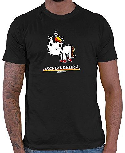 HARIZ  Pixbros Collection Herren T-Shirt Schwarz Designs Wählbar Deutschland Trikot Weltmeisterschaft Urkunde Bang Sticks Pixbros10: Schlandhorn 3XL