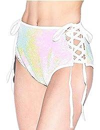 804d4fdb136f Cloom Kurze Hosen Damen Sommer Shorts High Waist Leggings Sporthosen Kurze  Shorts Hot Pants Sexy Pailletten