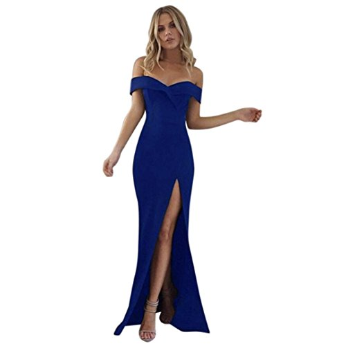 Bekleidung AMUSTER Damen Elegant Maxikleid Abendkleid Schulterfrei Strand Faltenrock Lange Maxi Kleid Festkleider Partykleid Rückenfrei Kleider...