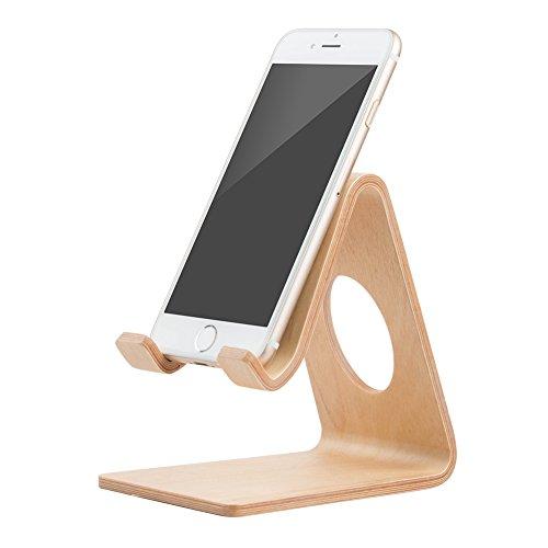 Mulor Handy Ständer Smartphone Halterung Holz Schreibtisch Universal für iPhone Samsung Huawei (A-Weiße Birke) - Weiße Birke Natürlichen