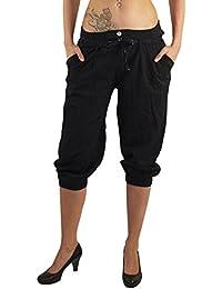 b03a767e48 MODA Made in Italy Kurze Blickdichte Damen Sommerhose Haremshose mit  elastischem Bund und…