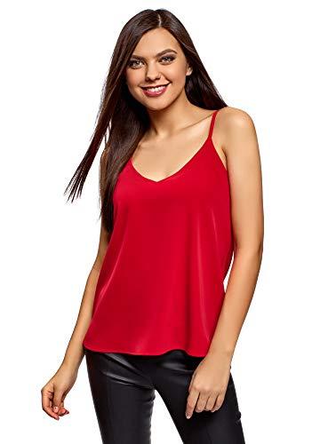 oodji Ultra Mujer Top de Tejido Fluido con Tirantes Finos, Rojo, ES 44 / XL